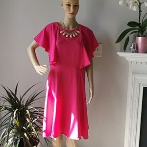 Eloquii pink ruffels midi summer dress